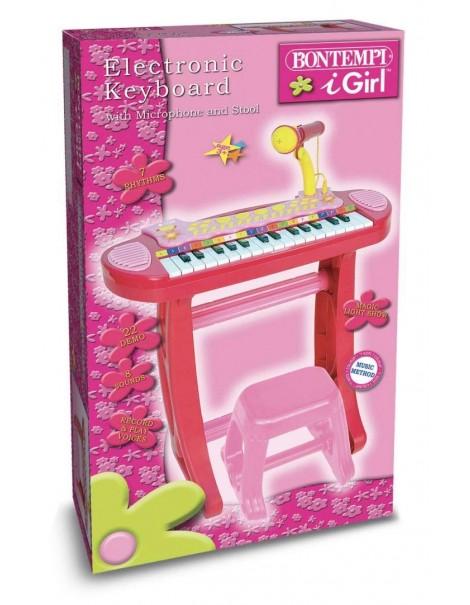 Bontempi Tastiera Elettronica 13 3672  i Girl con Microfono - Gambe - Sgabello - USB Portatile per Flash Drive