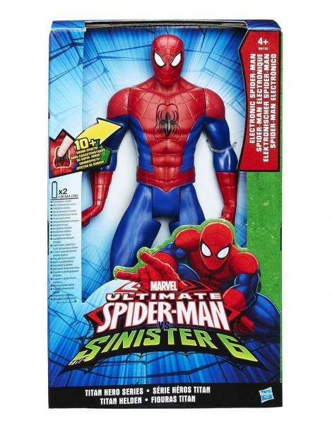 spiderman hero  marvel ultimate spider man vs sinister 6 hasbro b5757 personaggio elettronico 2016 parlante da 30 cm spiderman