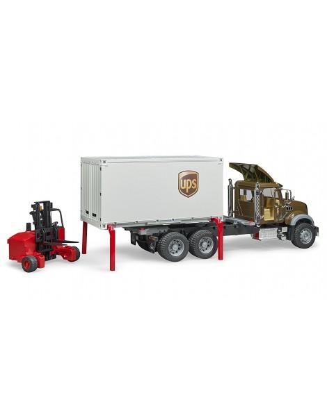 Bruder 02828 – Camion Mack Granite UPS portacontainer con muletto