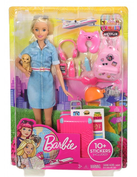 Barbie Travel, Bambola Barbie in viaggio con Cucciolo, FWV25 Mattel