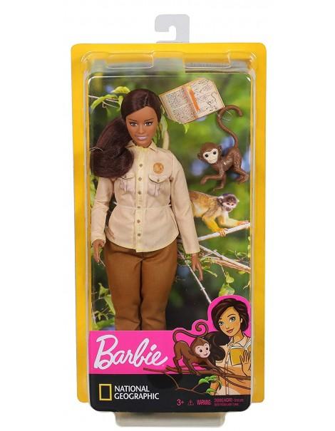 Barbie- Carriere Conservatrice di Biodiversità Bambola con Scimmietta e Accessori, Ispirata a National Geographic, Mattel GDM48