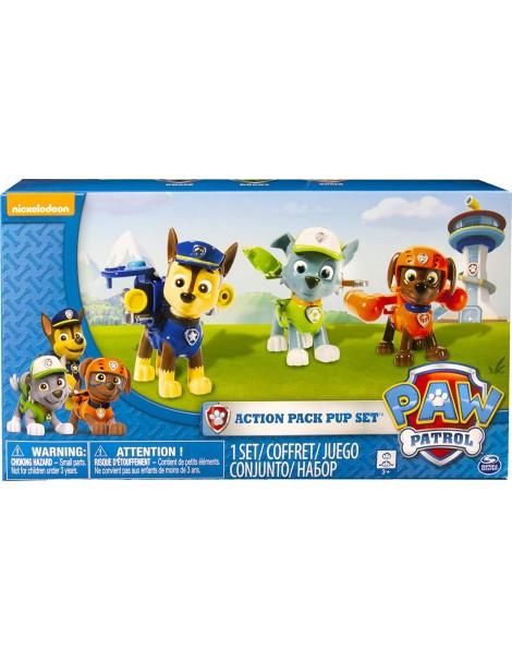 PAW PATROL Set 3 Cuccioli Action Pack (Chase, Rocky e Zuma)