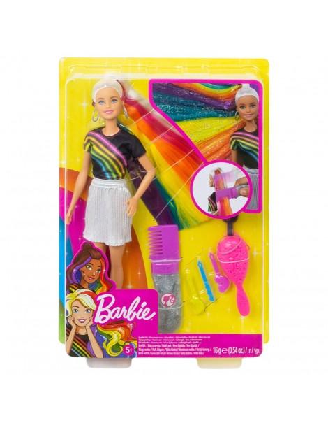Barbie con Capelli Arcobaleno e gel glitterato, Mattel FXN96