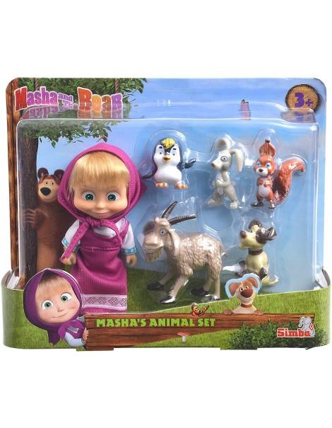 Bambola Masha personaggio cm.12 con 5 animaletti di Simba 109301060