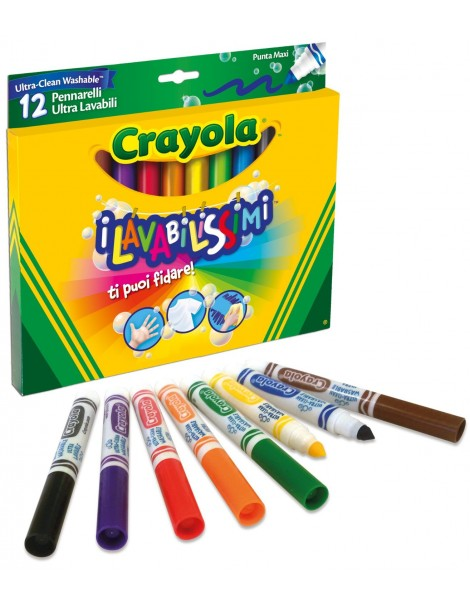 Crayola pennarelli Crayola 58-8329 - I Lavabilissimi 12 Pennarelli, Punta Maxi spot tv!