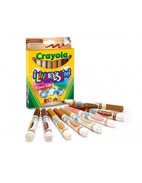 Crayola 58-8336 - 8 Pennarelli i Lavabilissimi Punta Maxi, Colori Multiculturali