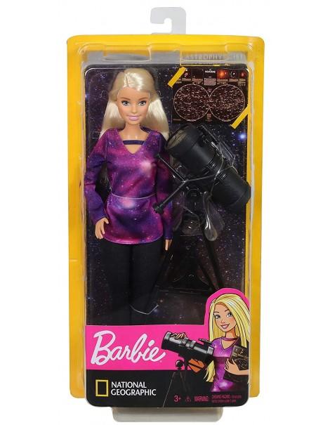 Barbie- Carriere Astrofisica Bambola con Telescopio e Accessori, Ispirata a National Geographic, Mattel GDM47