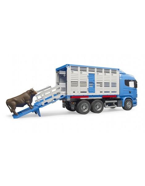 Scania R-Series Camion Trasporto Bestiame con un bovino Bruder 03549