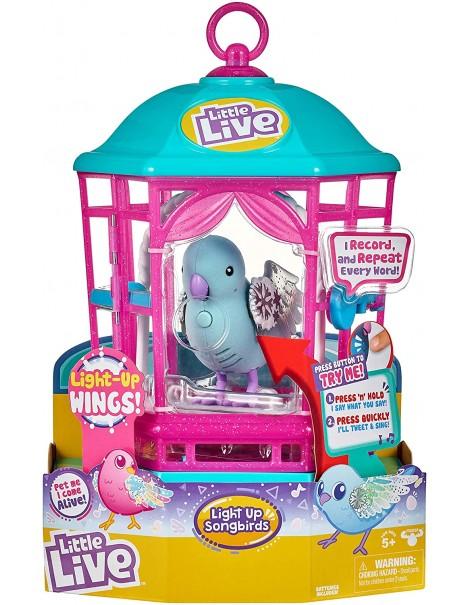 Little Live Pets cocoritos L'Originale Personaggio - Snow Gleam - con Effetto luci e Suoni in gabbietta cocoritos maschietto Snow Gleam  giochi preziosi