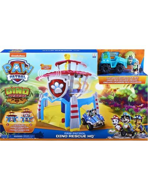 PAW Patrol, Quartiere Generale Dino con effetti sonori, esclusivo personaggio Rex e veicolo, Spin Master 6059295