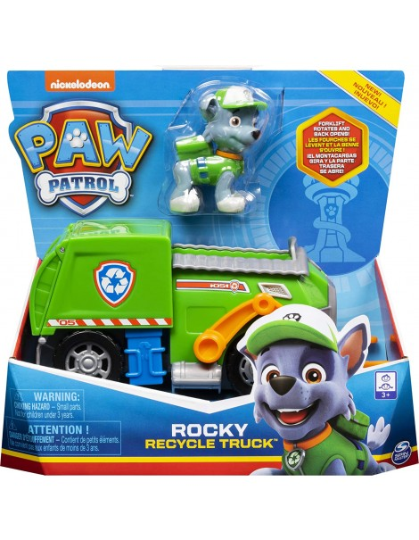Paw Patrol - camion per la raccolta di rifiuti riciclabili di Rocky, Spin Master 6061804