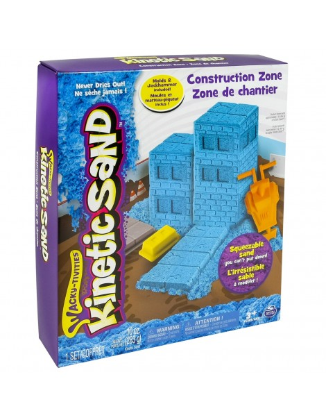 Kinetic Sand 6027987 - Kit Construction Kinetic Sand Playset Cantiere, Multicolore - sabbia modellabile - l'originale -