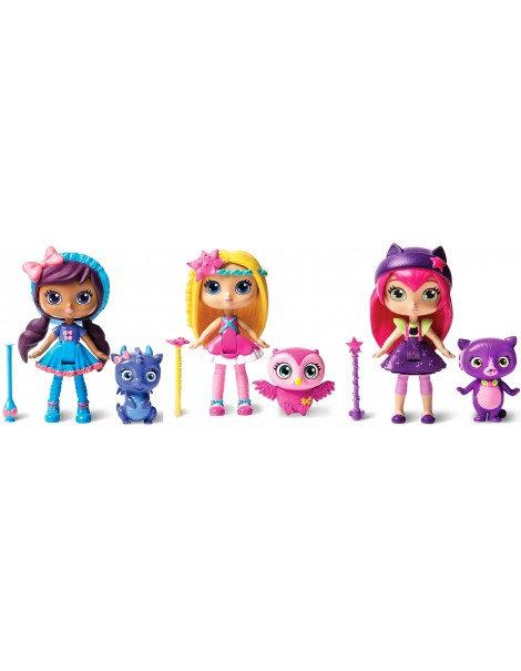 SET 3 PEZZI Little Charmers 3 Inch Doll [Posie] - [Lavender] - [Hazel] SET COMPLETO COME FOTO