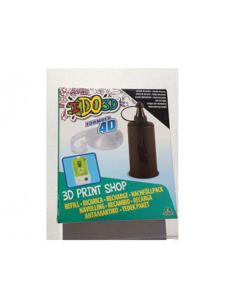 RICARICA - RECAMBIOS - RECHARGE - PENNA I DO 3D - IDO3D 3d print shop 1 colore NERO  inchiostro e 1 pezzo di Formula 4D per creare il tuo stampo