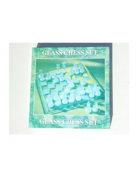 Gioco Scacchi con base in vetro  - glass chess set - 25x 25 cm circa