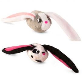 Imc Toys Bunnies Coppia Peluche Magnetico Coniglietto Grigio con Musetto Bianco e Bianco con Macchie Nere