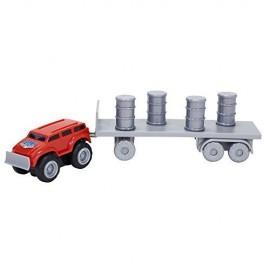 Max Tow Truck  Mini Haulers veiscolo macchina ROSSA CON BIDONI E RIMORCHIO  trascina fino 25 volte il suo peso include la pista