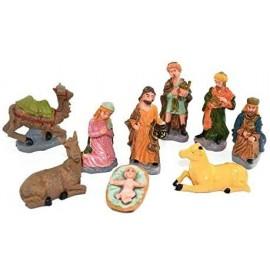 Statuine da Presepe Natività in plastica da 8 cm - 10 pezzi in 1 scatola assortita - versione economia