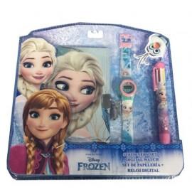 Frozen,  Disney Frozen WD17598 Set diario segreto, orologio digitale, penna multicolore, bambina, Anna, Elsa