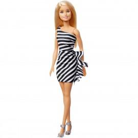 Barbie 60° Anniversario, Bambola con Vestito a Righe Bianco e Nero, GJF85 Mattel