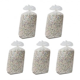 5 Sacchi Di Coriandoli classico da 10 kg  economico all'interno sono presenti carta color argento che da un effeto migliore al coriandolo , immagine con contenuto del sacco variabile