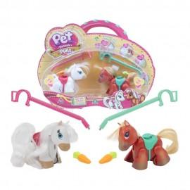 Pet Parade Pony Parade, Blister Doppio, Ponies Razza Shetland e White, Marrone/Bianco di Giochi Preziosi PTN01000