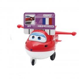 Super Wings Interattivo Jett, funziona a pila striciando le carte parla italiano - luci - movimento - 6 carte comprese dei 6 paesi per un nuovo viaggio