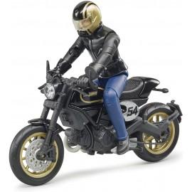 Bruder 63050 - Moto Scrambler Ducati Cafe Racer con motociclista scala 1/16