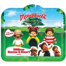 Monchhichi - set 3 personaggi Willow, Kauri and Hanae 8 cm di Rocco Giocattoli 21737359