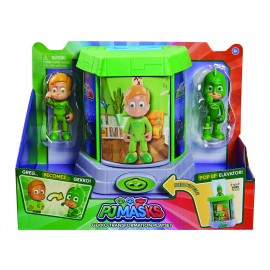Pj Masks Geco, Pigiamini Camera di Trasformazione con 2 Personaggi di Giochi Preziosi PJMA0000