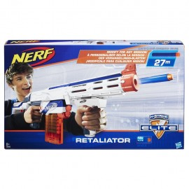 Nerf Blaster Retaliator Elite, Portata fino a 27 m, Bianco/ Arancione di Hasbro 98696