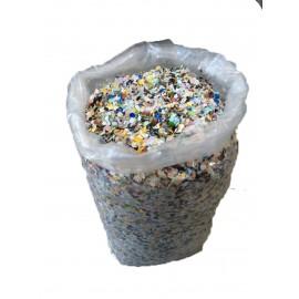 coriandoli in sacco da 10 kg economico all'interno sono presenti carta color argento che da un effeto migliore al coriandolo , immagine con contenuto del sacco variabile