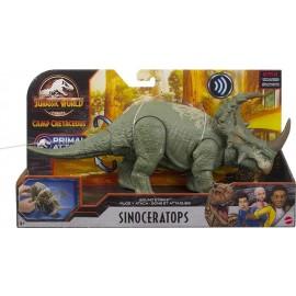 Jurassic World - Attacco Sonoro, Dinosauro Sinoceratops Snodato con Azione Attacco e Morso, Mattel HBX34-GJN64