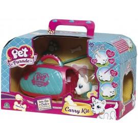 Pet Parade, Carry Kit con Cucciolo e Portantina, Rosa/Blu