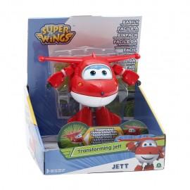 NEW SUPER WINGS Jett, Aereo Robot Personaggio Trasformabile Articolato, Alto 12 Cm  GIOCATTOLO ORIGINALE GIOCHI PREZIOSI TOYS
