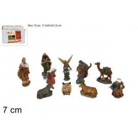 Statuine da Presepe Natività in poliresina da 7 cm - 10 pezzi  in 1 scatola assortita - versione economia