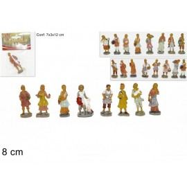 Statuine da Presepe MESTIERI STATUA PLASTICA 8CM ANTICHIZZATO  - 24 pezzi   - versione economia