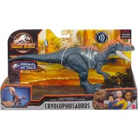 Jurassic World - Attacco Sonoro, Dinosauro Cryolophosaurus Snodato con Azione Attacco e Morso, Mattel HCL80-GJN64