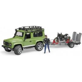Bruder 02598- Land Rover Defender con rimorchio, Moto Scrambler Ducati Cafe e Personaggio scala 1/16