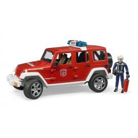 Jeep WRANGLER UNLIMITED Rubicon Pompieri con vigile del fuoco, luci e suoni  Bruder 02528