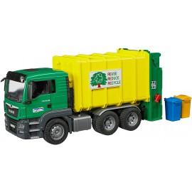 Bruder 03764, Camion Man Tgs Trasporto Rifiuti verde/giallo caricamento posteriore scala 1/16