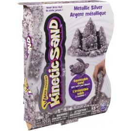 Kinetic Sand- Sabbia Modellabile Confezione Effetto Metallico, SILVER ARGENTO