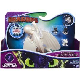 Dreamworks Dragons Trainers Legends Evolved Furia Chiara con 3 Baby Dragon