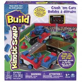 Kinetic Sand 6026967 - Set di Gioco Build Playset Auto da Scontro in città
