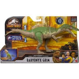 Jurassic World - Attacco Sonoro, Dinosauro Baryonyx Grim Snodato con Azione Attacco e Morso, Mattel GVH65-GJN64
