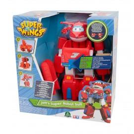 Super Wings Jett Super Robot, Veicolo Trasformabile in Robot, Personaggio Jett Incluso
