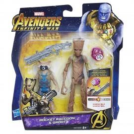 The Avengers Rocket Raccoon and Groot con Gemma dell'Infinito di Hasbro E2070