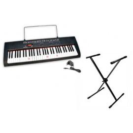 Bontempi Tastiera 61 tasti con tasti - luminosi - piano finzionante batteria o 220 Volt con trasformatore incluso + gambe regolabili16 6120 - Tastiera da Tavolo