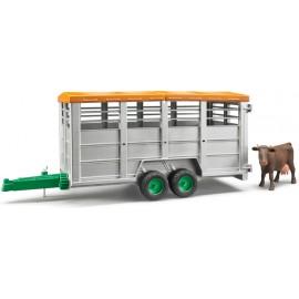 Bruder nuovo Rimorchio Trasporto Animali Con 1 Mucca Bruder 02227