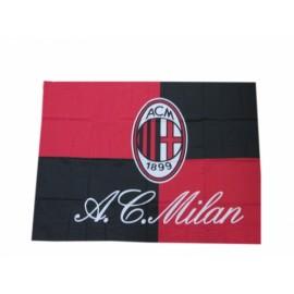 BANDIERA MILAN UFFICIALE 100cm x 140cm CIRCA   Bandiera ufficiale Ac. Milan CON ASOLA PORTA BASTONE - ASTA